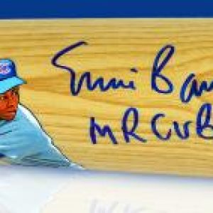 Ernie Banks Hall of Fame Career Hand Painted and Signed Bat